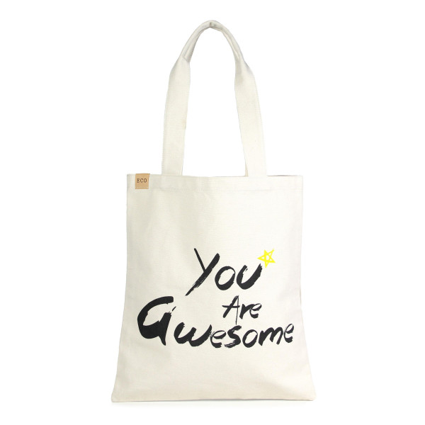 """Eco friendly bag with """"You Are Awesome"""" message. 100% Cotton. 13"""" x 15"""" in length."""