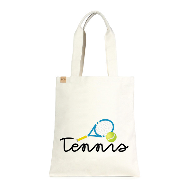 """Eco friendly tote bag """"Tennis"""" written in cursive. Measures approximately 13"""" x 15"""" in size. 100% Cotton."""