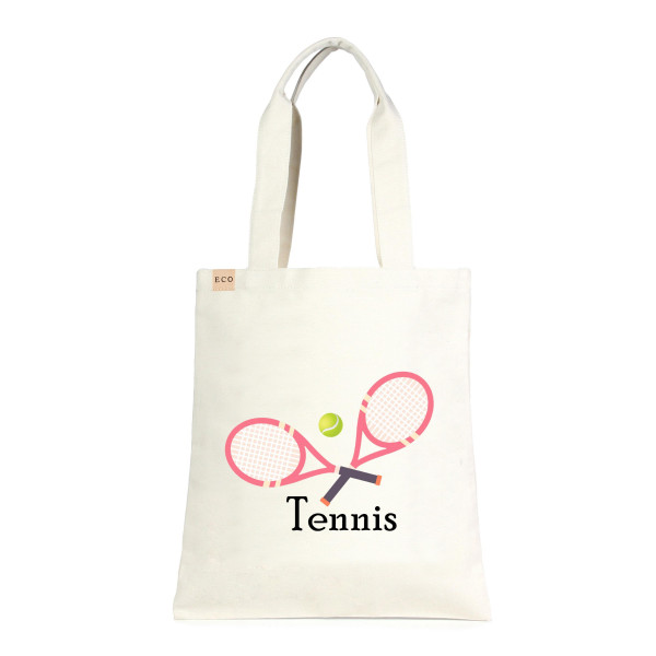 """Eco friendly tote bag """"Tennis"""". Measures approximately 13"""" x 15"""" in size. 100% Cotton."""