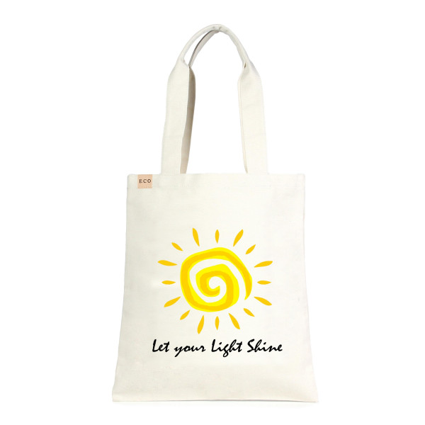 """Eco friendly tote bag """"Let Your Light Shine"""". Measures approximately 13"""" x 15"""" in size. 100% Cotton."""