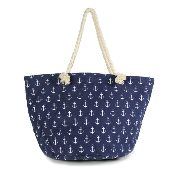"""Canvas tote bag with an anchor pattern, top zipper closure, rope handles and a lining inside with pockets. 35% cotton and 65% polyester. Measures approximately 21"""" x 13"""" in size."""