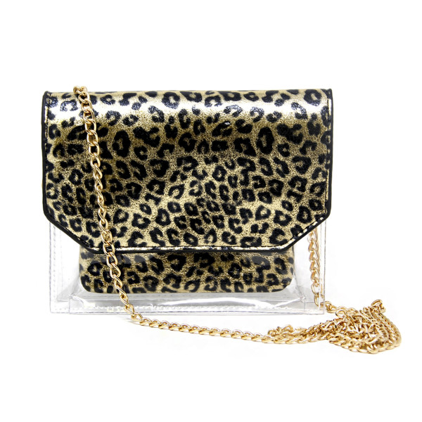 """Gold and clear cheetah print crossbody handbag. 60% PVC 40% PU. Measuring 7""""x 6"""" in size and 26"""" in length."""