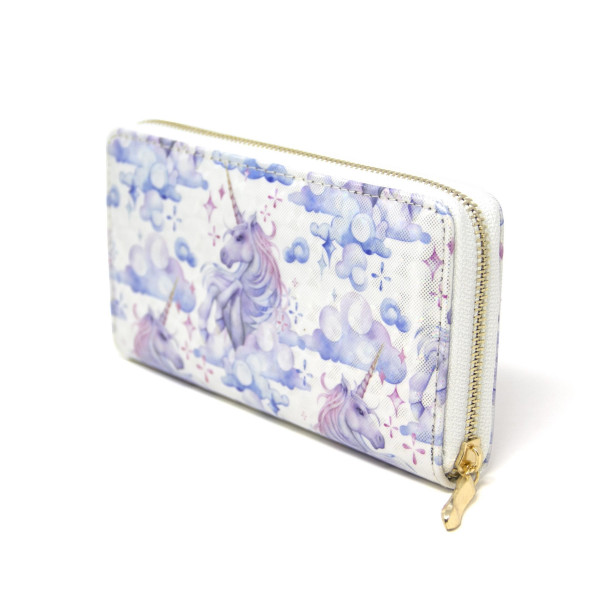 """Unicorn print wallet, includes coin zip with credit card holder on inside. Measures approximately 7"""" x 3"""" in size."""