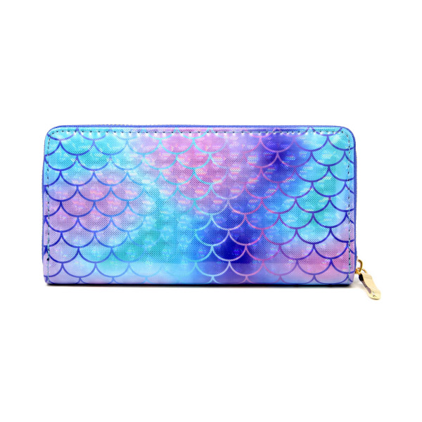 "Mermaid scale detailed wallet, includes coin zip and credit card holder on inside. Measures approximately 7"" x 3"" in size. Material 100% PVC."