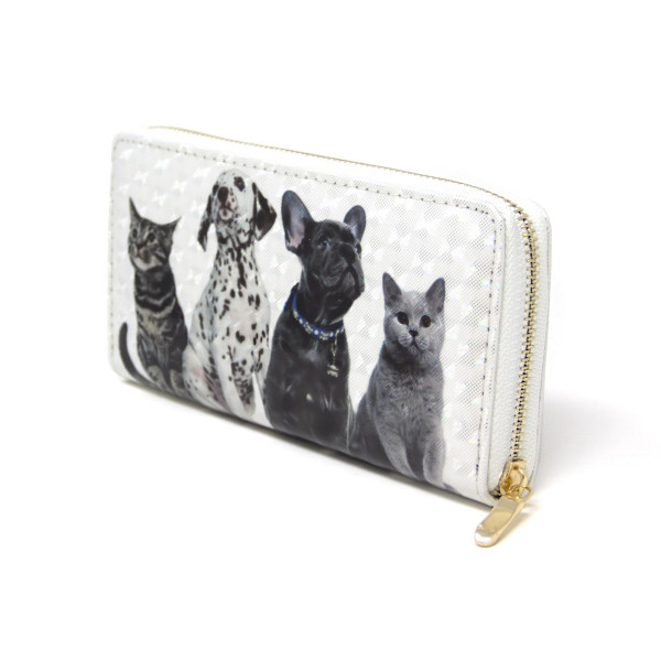 """Dogs and cats wallet, includes coin zip with credit card holder on inside. Measures approximately 7"""" x 3"""" in size. 100% pvc."""