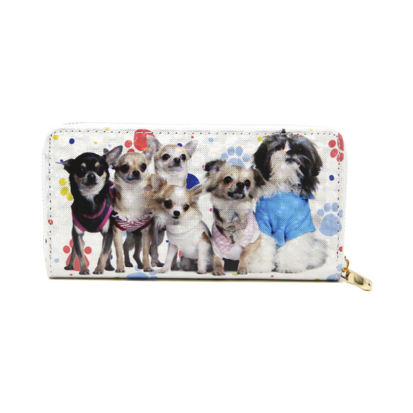 """Dog wallet with paw print detail, includes coin zip with credit card holder on inside. Measures approximately 7"""" x 3"""" in size."""