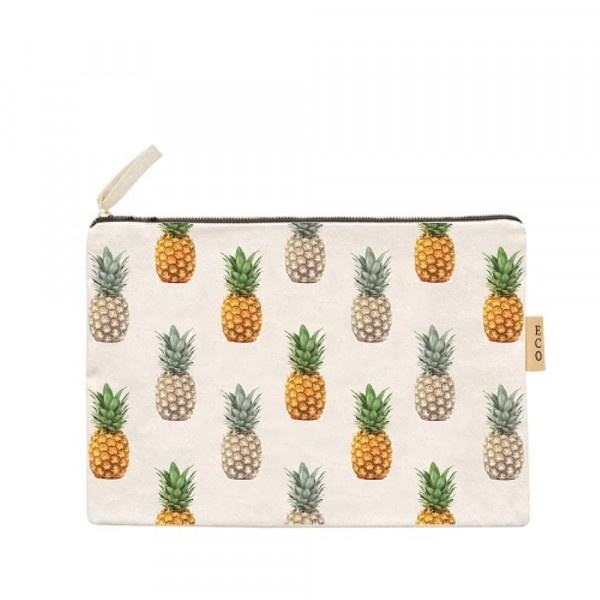 "Canvas zipper pouch with pineapples. Measures 7"" x 6"" in size. 100% Cotton."