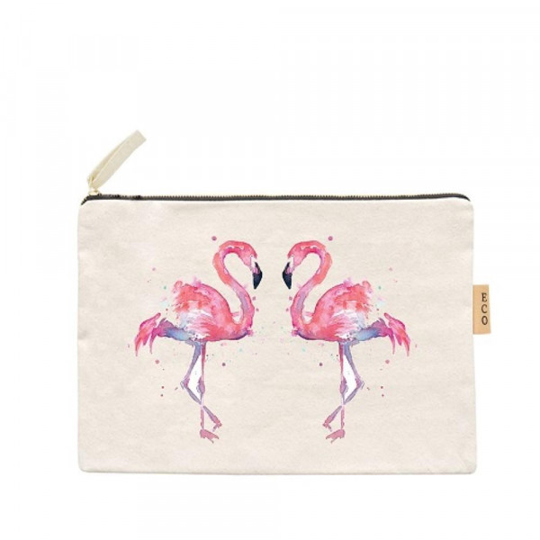 "Canvas zipper pouch with flamingos. Measures 7"" x 6"" in size. 100% Cotton."