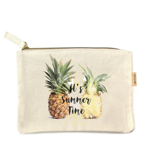 "Canvas zipper pouch ""It's summer time"". Measures 7"" x 6"" in size. 100% Cotton."
