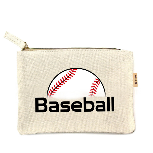 "Canvas zipper pouch ""Baseball"". Measures 7"" x 6"" in size. 100% Cotton."