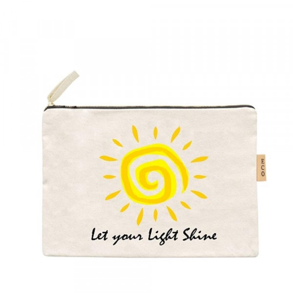 "Let your light shine canvas travel pouch.  - Open lined inside, no pockets - Zipper closure - Approximately 7"" W x 6"" T - 100% Cotton"