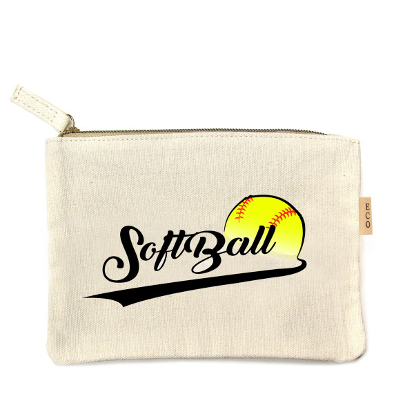"""Canvas zipper pouch """"Softball"""". Measures 7"""" x 6"""" in size. 100% in size."""