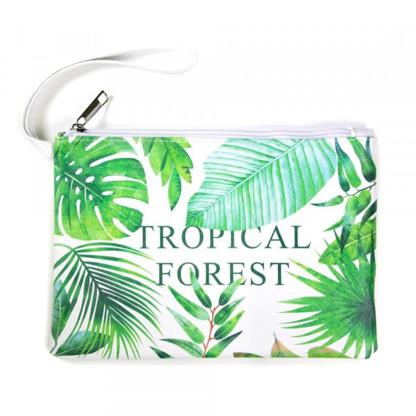 "Faux leather pouch with ""Tropical Forest"" message, a wristlet strap, top zipper closure and a lined inside. 100% PU leather. Measures 9"" x 6"" in size."