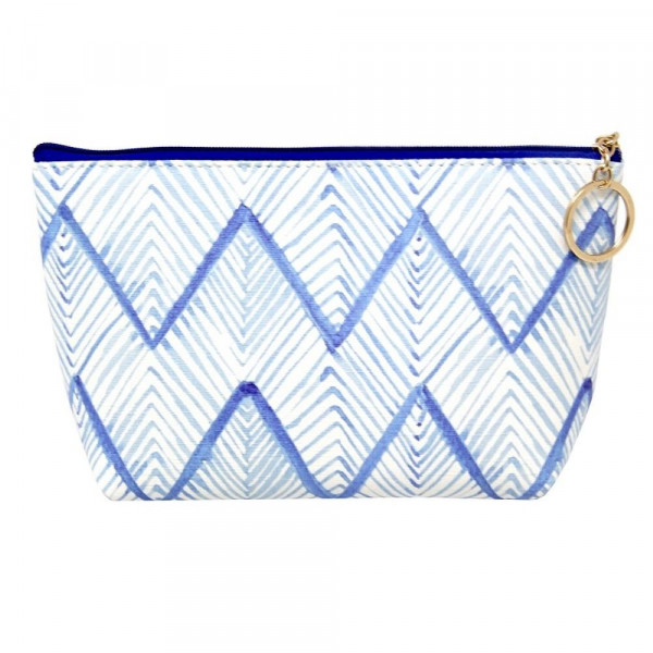"""Faux leather pouch with blue/white zigzag print, top zipper closure and a lined inside. 100% PU leather. Measures 9"""" x 6"""" in size."""