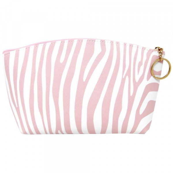 """Faux leather pouch with light pink zebra print, top zipper closure and a lined inside. 100% PU leather. Measures 9"""" x 6"""" in size."""