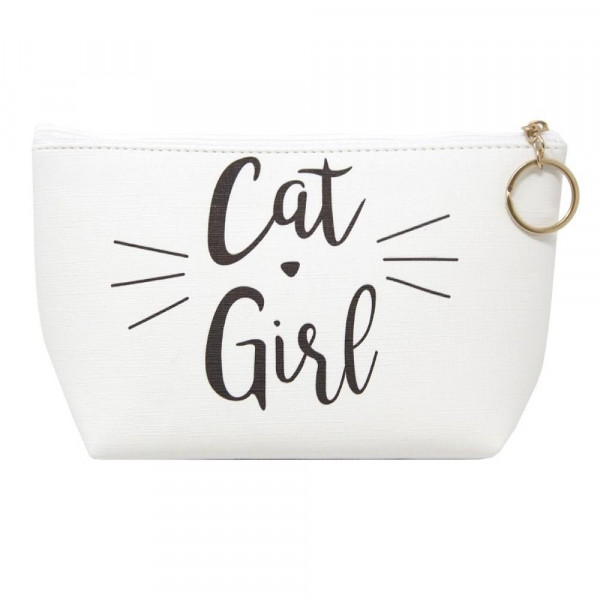 """Faux leather pouch with """"Cat Girl"""" message, top zipper closure and a lined inside. 100% PU leather. Measures 9"""" x 6"""" in size."""