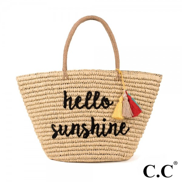 CC- BG2017- Hello sunshine colorful tassels embroidered straw tote. 100% paper. One size.
