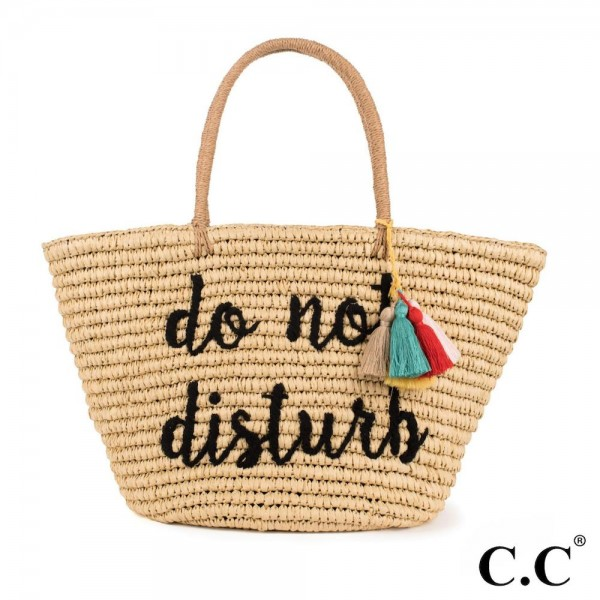 CC- BG2017- Do not disturb colorful tassels embroidered straw tote. 100% paper. One size.