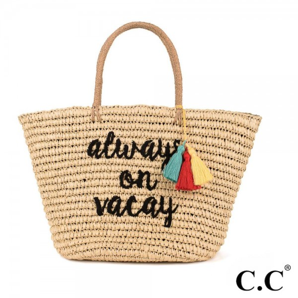 CC- BG2017- Always on vacay colorful tassels embroidered straw tote. 100% paper. One size. 20x14 in length.