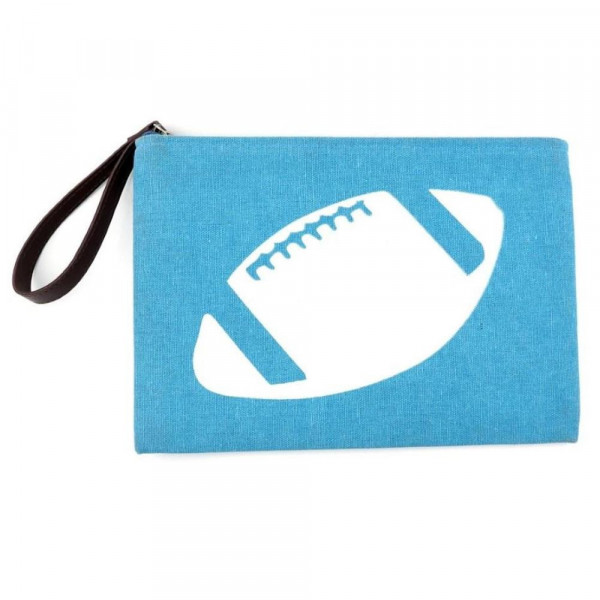 "Football clutch featuring a wristlet, lined inside with pocket and a zipper closure. Approximately 7"" x 10"" in size  - Composition: 60% Cotton, 40% Polyester"