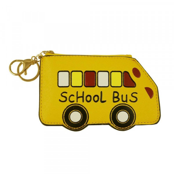 "School bus keychain/wallet featuring a lined inside and clear pocket with zipper closure. Approximately 3.5"" wide x 6"" tall.   - Composition: 100% PU"