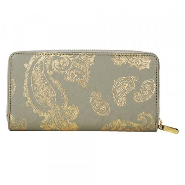 "Faux leather metallic paisley print long wallet featuring a zipper coin pouch, full-bill and card compartments with zip around closure.  - Approximately 7.5 "" W x 4"" T - 100% Polyester"