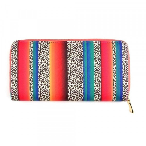 """Faux leather multicolor stripe leopard print long wallet featuring a zipper coin pouch, full-bill and card compartments with zip around closure.  - Approximately 7.5"""" W x 4"""" T - 100% Polyester"""