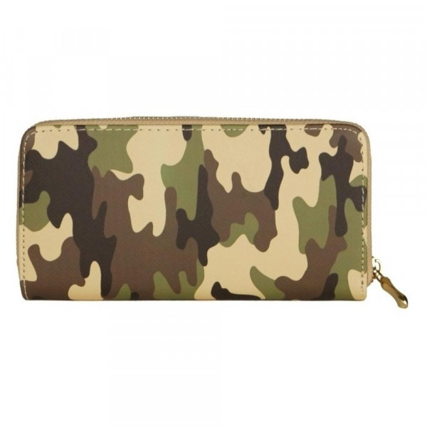 "Faux leather camo long wallet featuring a zipper coin pouch, full-bill and card compartments with zip around closure.  - Approximately 7.5"" W x 4"" T - 100% PU"