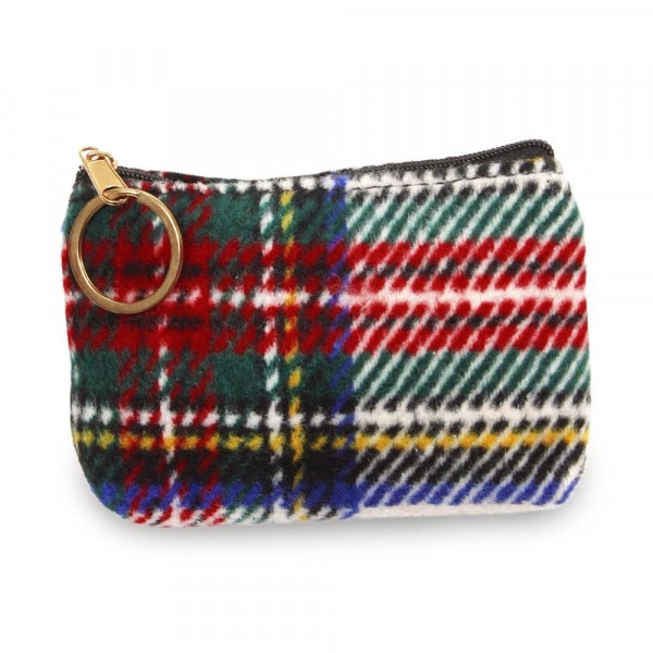 "Tartan coin/card pouch.  - Approximately 5.5"" W x 4 ""H - 100% Polyester"