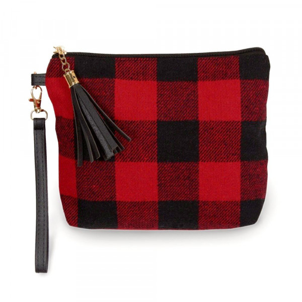 "Buffalo check pouch bag with a zipper closure tassel detail and detachable wristlet.  - Approximately 9"" W x 6.5"" H - 100% Polyester"