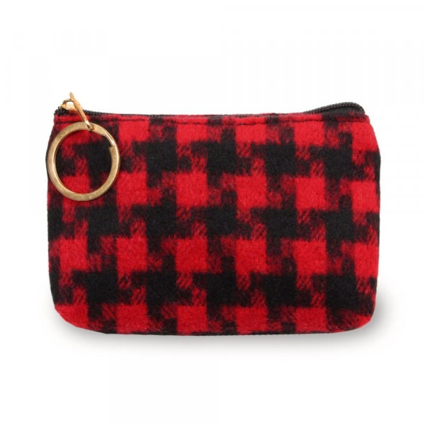 "Houndstooth coin/card pouch.  - Approximately 5.5"" W x 4"" H - 100% Polyester"
