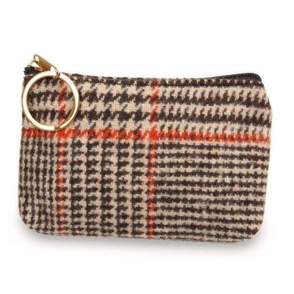 """Glen check coin/card pouch.  - Approximately 5.5"""" W x 4"""" H - 100% Polyester"""