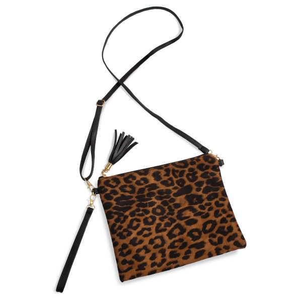 "Leopard print crossbody/clutch bag featuring a lined inside pocket detail and zipper closure.  - Approximately 10.5"" W x 8.5"" H - 100% Polyester"