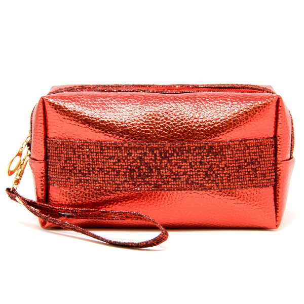 """Metallic faux leather cosmetic bag/wristlet featuring:  - Glitter accents - No inside pockets - Detachable wristlet  - Approximately 9"""" W x 4"""" T - 60% PVC, 40% PU"""