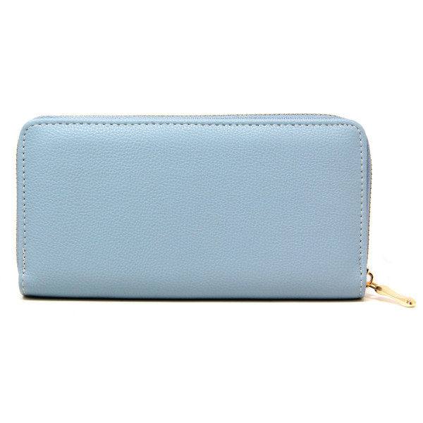 """Solid color faux leather long wallet featuring a zipper coin pouch, full-bill and card compartments with zip around closure.  - Approximately 7.5"""" W x 4"""" T - 100% PU"""