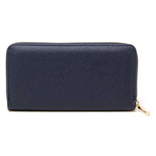 "Solid color faux leather long wallet featuring a zipper coin pouch, full-bill and card compartments with zip around closure.  - Approximately 7.5"" W x 4"" T - 100% PU"