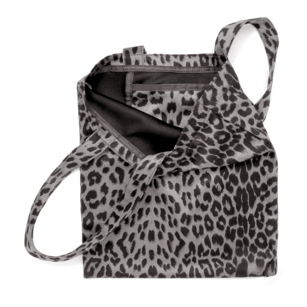 """Leopard print tote bag featuring one inside pocket detail.  - Approximately 13"""" W x 14.5"""" T - 100% Polyester"""