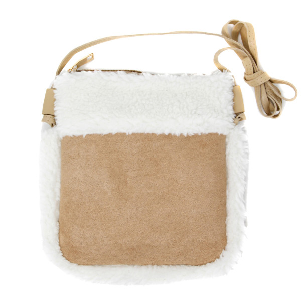 "Faux suede sherpa fleece lined crossbody bag featuring:  - No inside pockets - Zipper closure  - Approximately 6"" W x 8"" T - 100% Polyester"