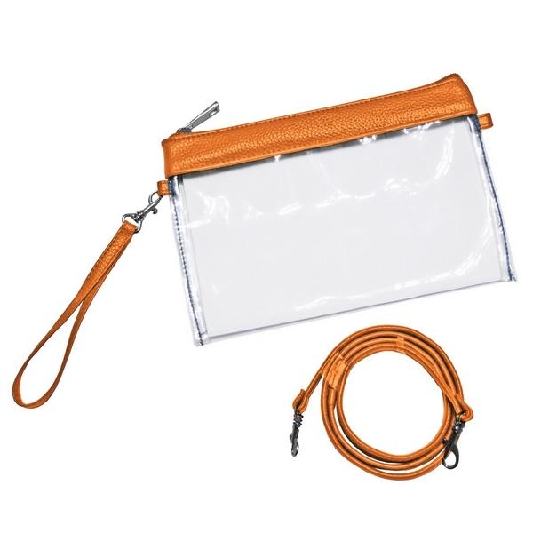 Wholesale clear PVC stadium purse trimmed team s color comes wristlet strap cros