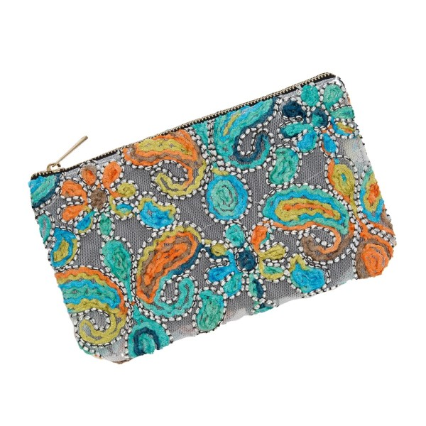 """Mesh pouch with a top zipper closure and a pastel, multicolored, paisley embroidered pattern. Measures 9.5"""" x 6"""" in size."""