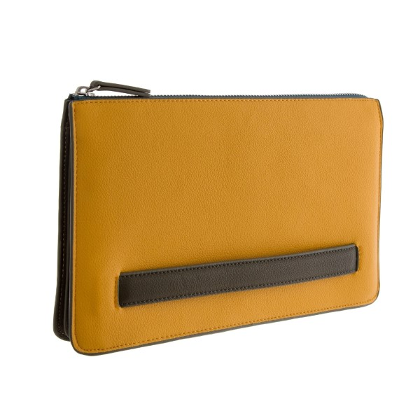 """Two tone, faux leather clutch with a zipper closure, hand handle on the side and interior pockets. Measures 10.5"""" x 7"""" in size."""