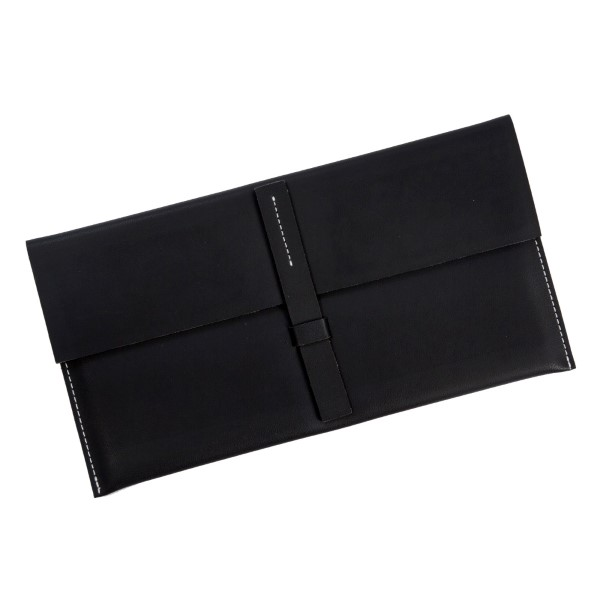 """Faux leather envelope clutch with a loop latch closure. Measures 12.5"""" x 6.5"""" in size."""