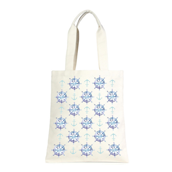 """Canvas tote bag with an inside pocket and an open top. 100% cotton. Measures approximately 17"""" x 14"""" in size with an 11"""" handle drop."""