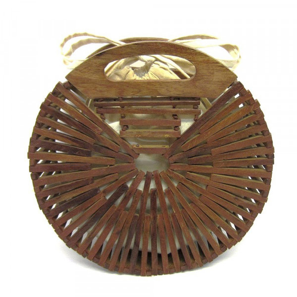 """Brown modern style wooden handbag with cloth-lined interior. Approximately 9.5"""" in diameter."""
