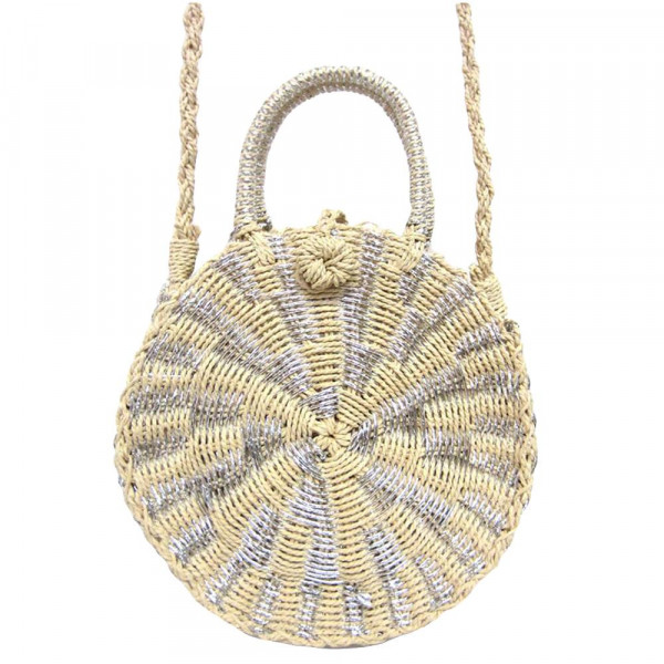 """Ivory shade woven raffia handbag with silver highlights, short handle, and long shoulder strap. Cloth-lined interior. Approximately 9.5"""" in diameter."""