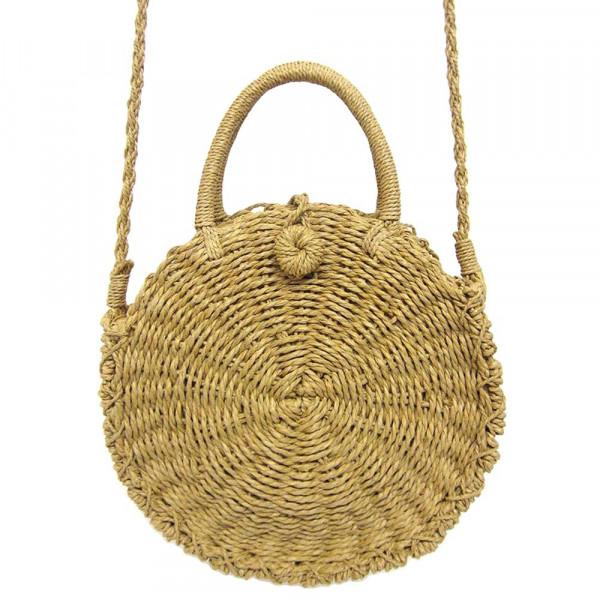 Wholesale natural shade woven raffia handbag short handle long shoulder strap Cl