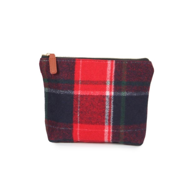 "Plaid pouch with zipper closure.  - Approximately 9"" W x 7"" H - 100% Acrylic"
