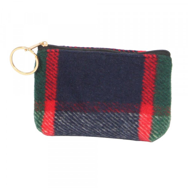 "Plaid coin purse. 100% acrylic and 5""W x 3""L"