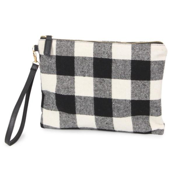 """Buffalo check wristlet bag. 100% acrylic. Size: 11""""W x 8.5""""H"""
