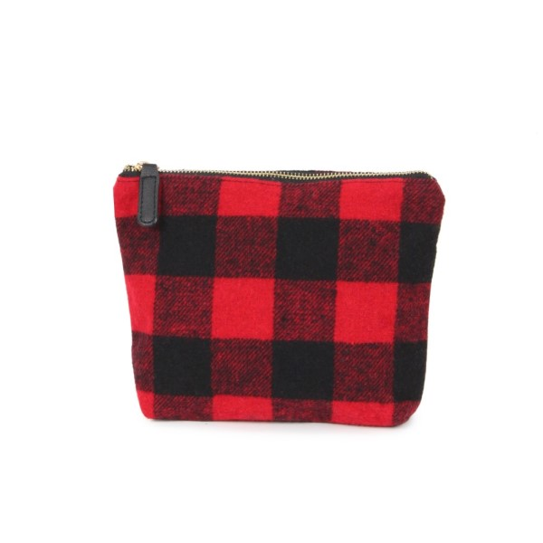 "Acrylic zipper pouch. Approximately 9""W x 7""H."